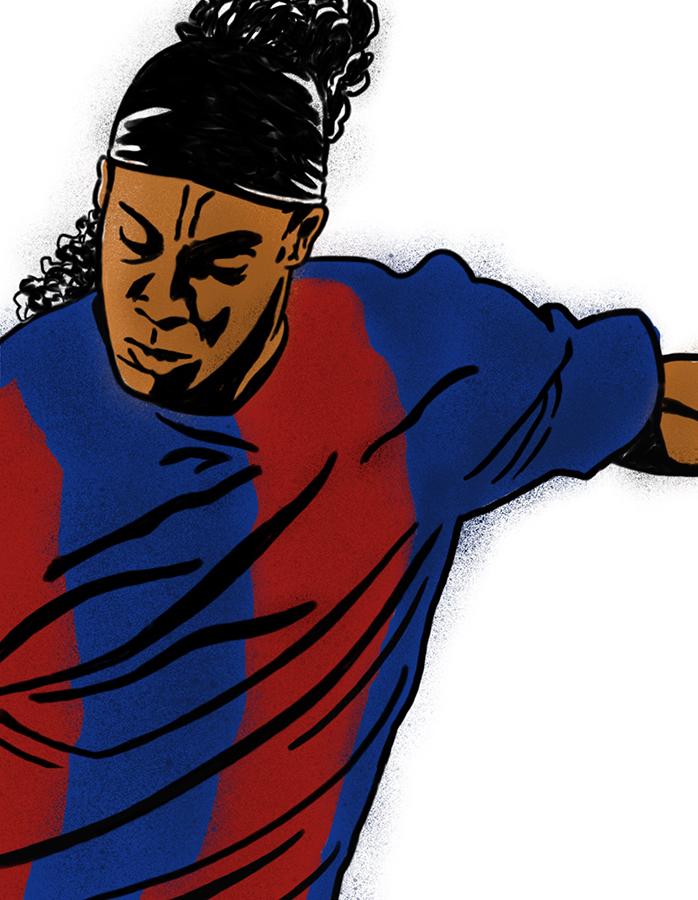 illustration of FC Barcelona Ronaldinho making the kick
