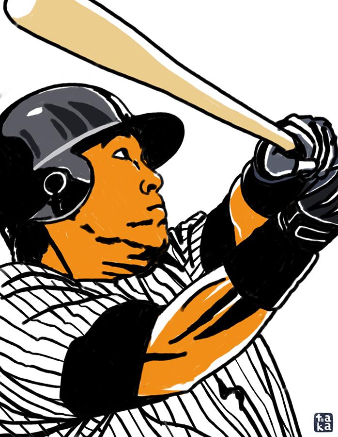 illustration of New York Yankees Hideki Matsui's swing