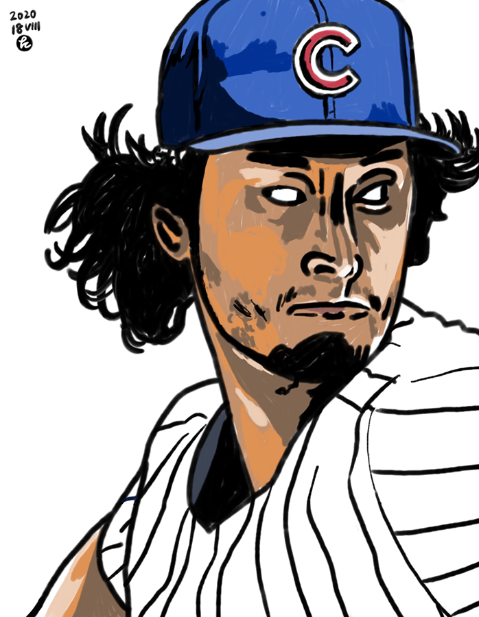 illustration of Chicago Cubs Yu Darvish's pitching