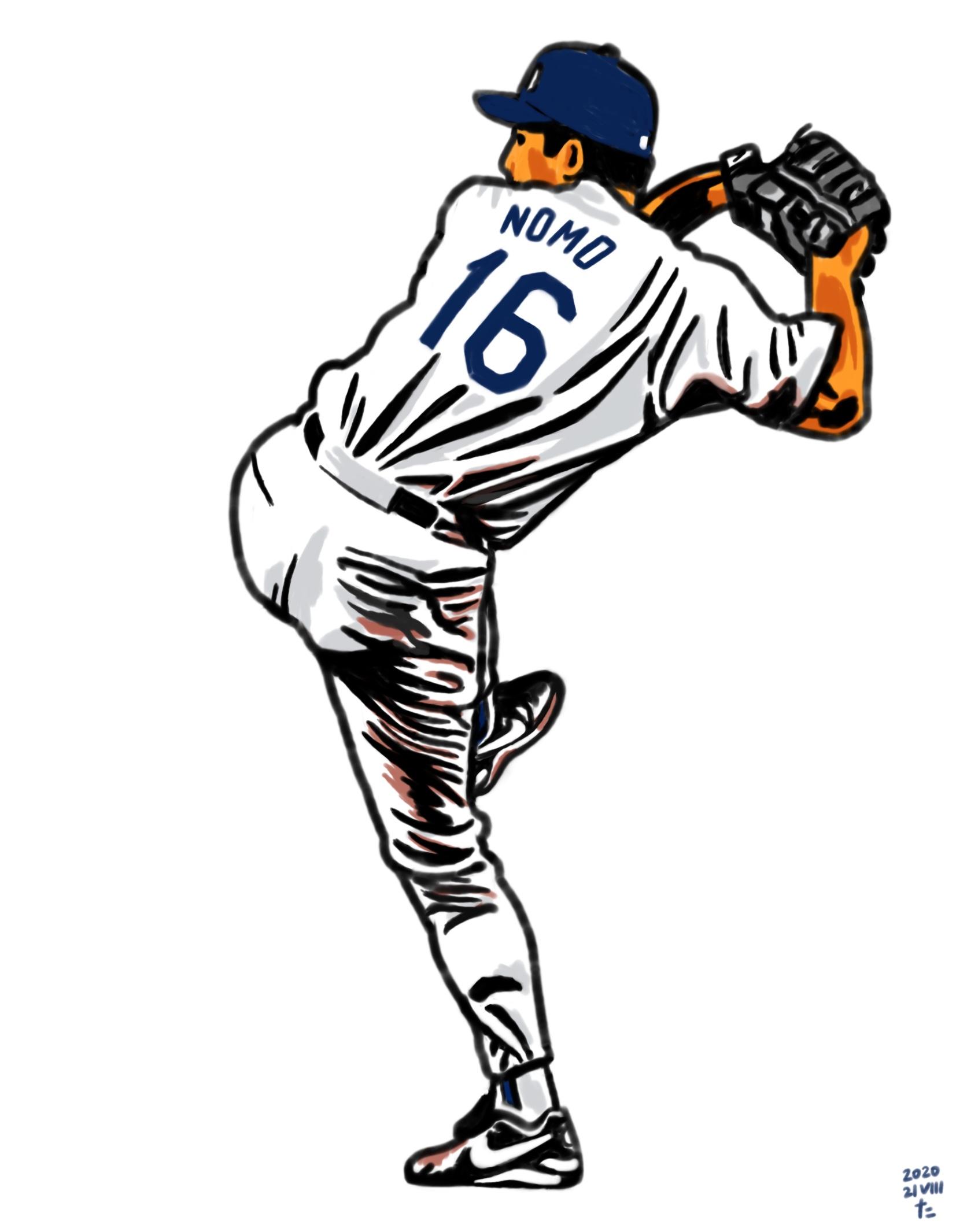 illustration of Los Angeles Dodgers Hideo Nomo's Tornado Pitch