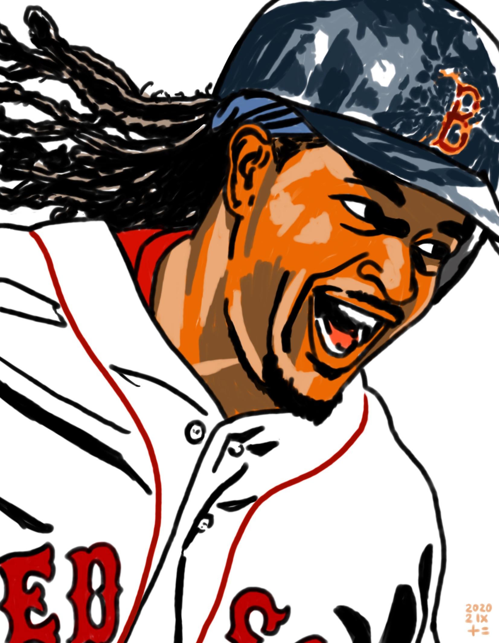 illustration of Boston Red Sox Manny Ramirez's smile