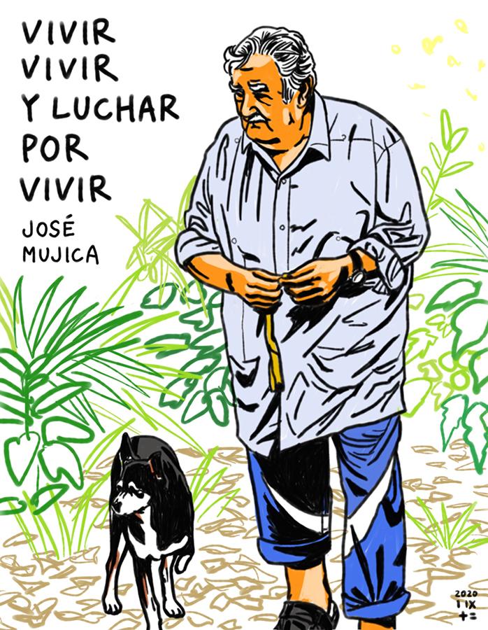 ilustración de José Mujica y su perrita Manuela, illustration of José Mujica