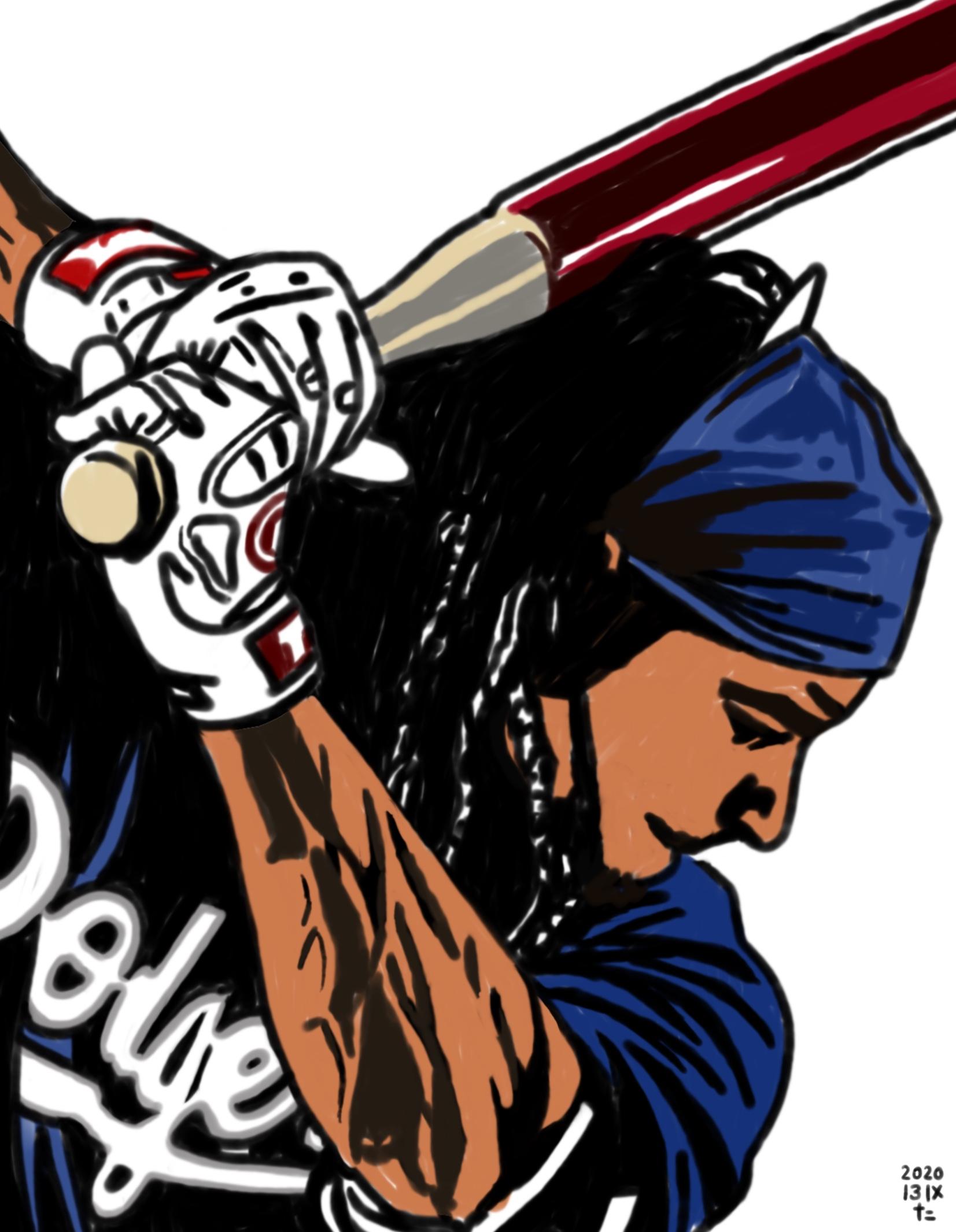 illustration of Los Angeles Dodgers Manny Ramirez's swing