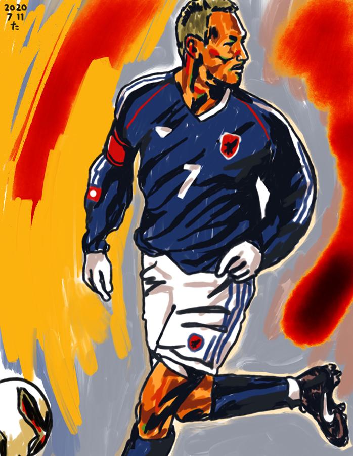 サッカーの試合でドリブルする金髪の中田英寿のイラスト