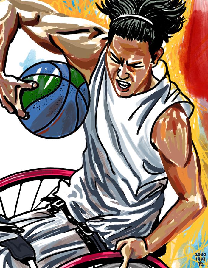 車いすバスケ男子日本代表の鳥海連志選手のイラストレーション