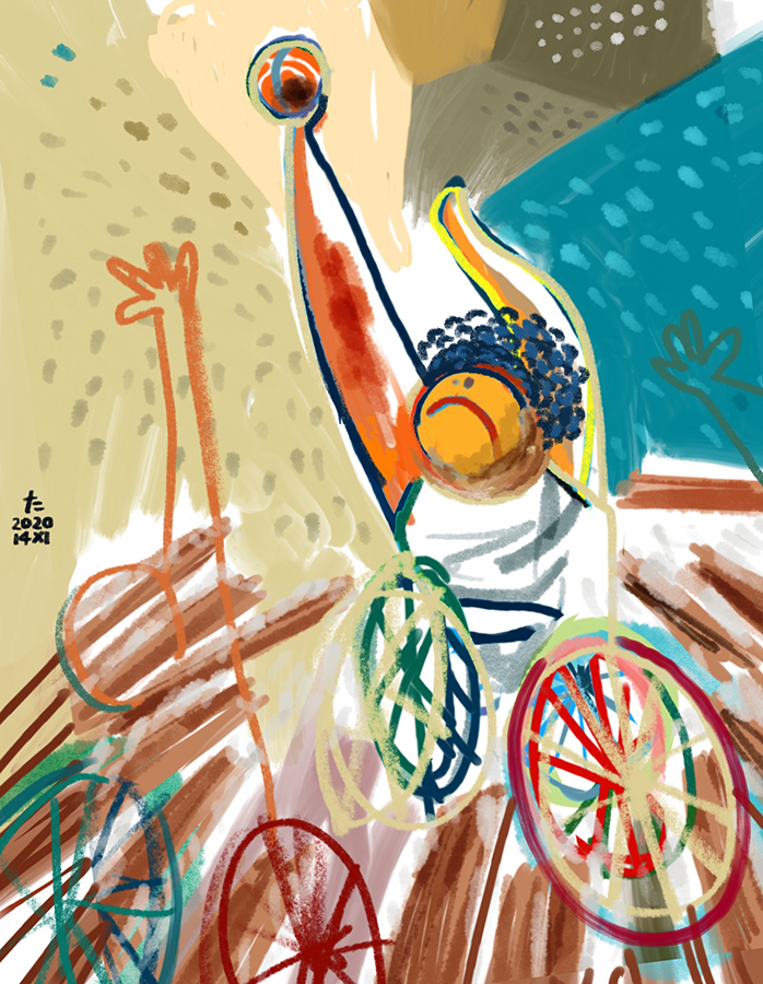 Painting of wheelchair basketball player playing in the game