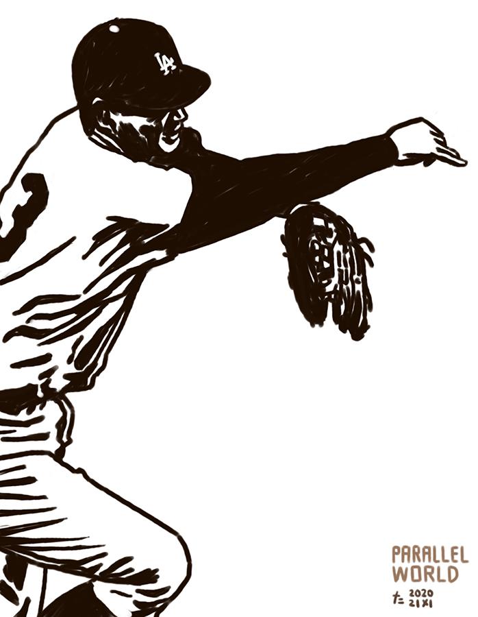 illustration of Los Angeles Dodgers Shigeo Nagashima's fielding