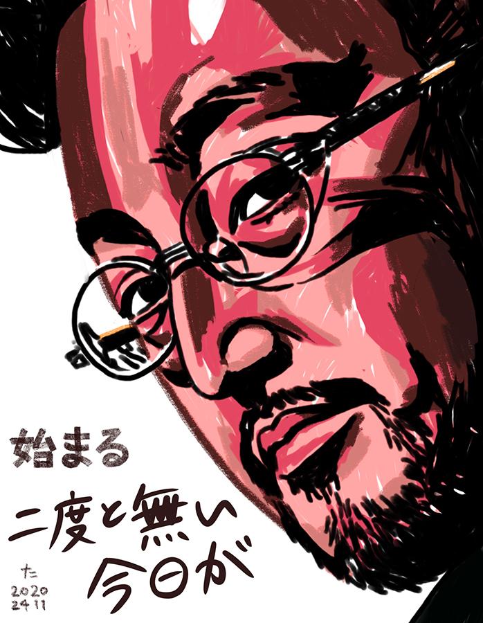 「自問自答」の歌詞と一緒に描かれた日本のラッパーNORIKIYOの顔のイラスト