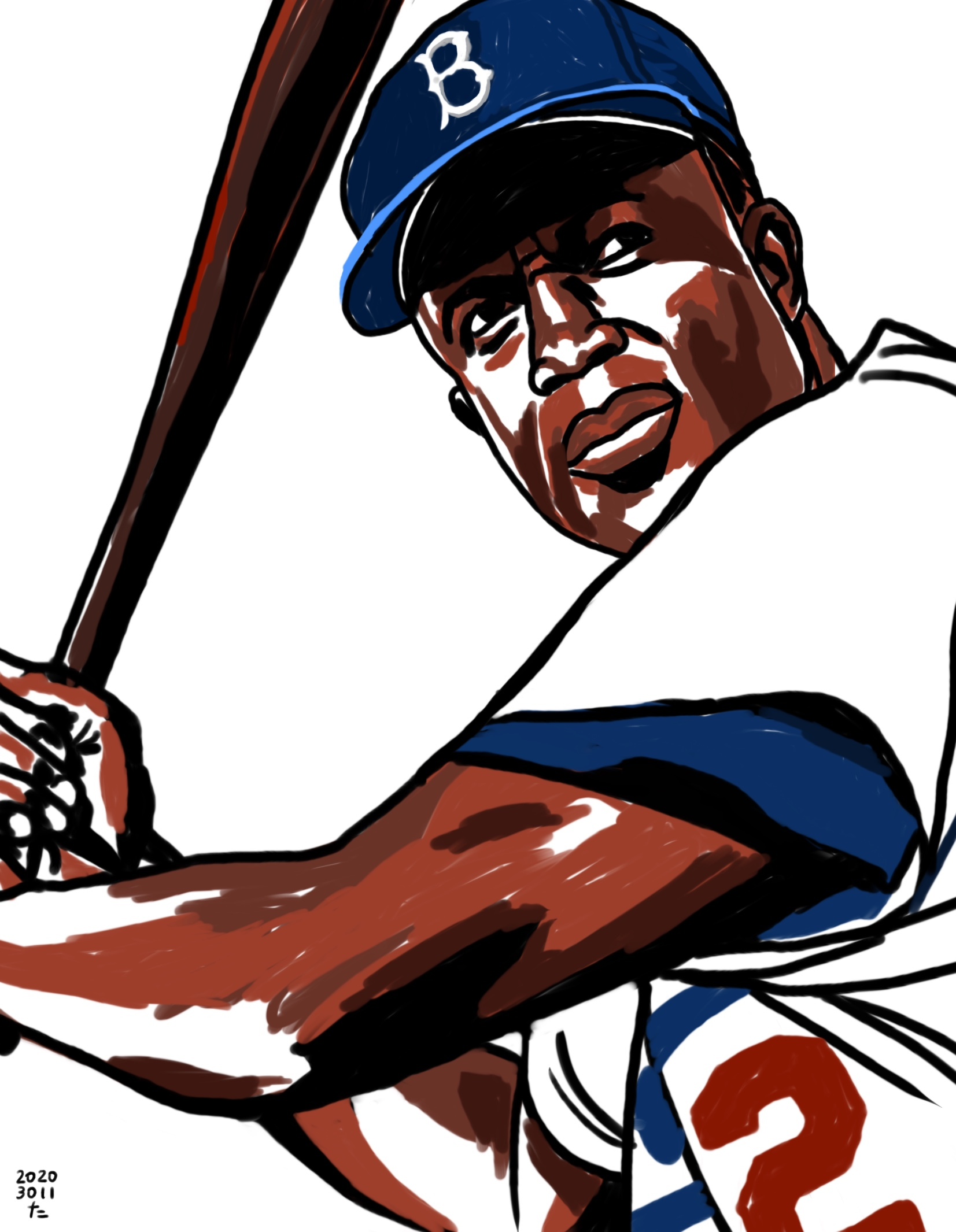 illustration of Brooklyn Dodgers Jackie Robinson's swing