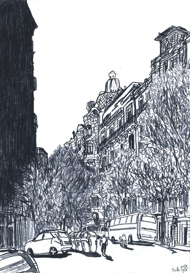 Il·lustració de la Pedrera per Antoni Gaudí vista des del carrer Provença a Barcelona