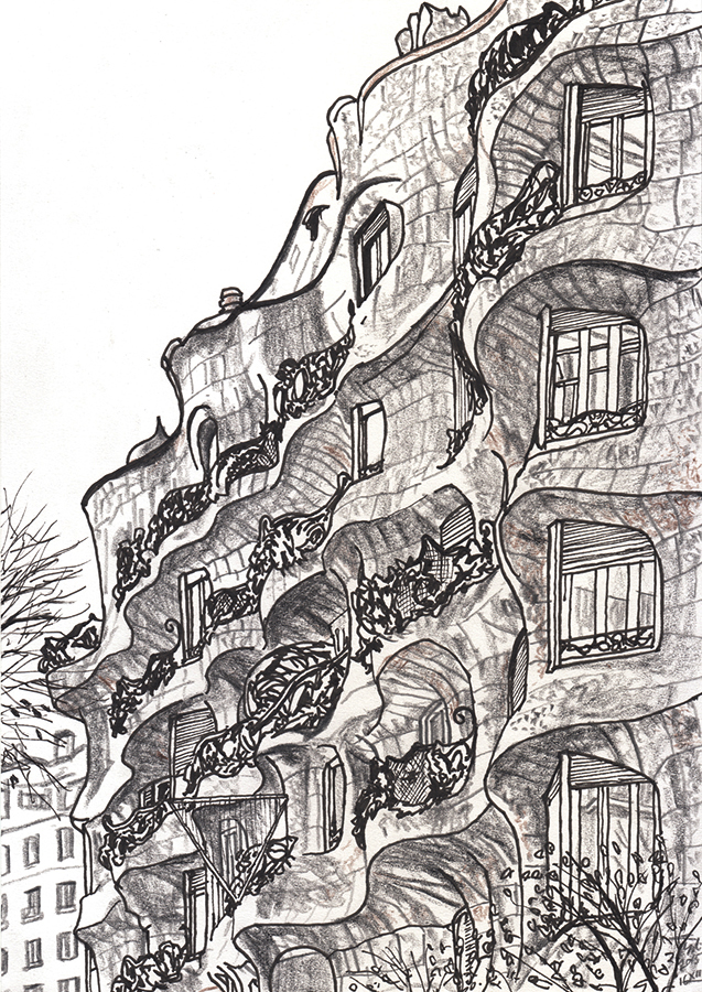 Drawing of the facade of La Pedrera by Antoni Gaudí in Barcelona that curves like a wave