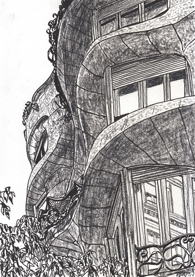 バルセロナにあるガウディの作品カサ・ミラのドローイング