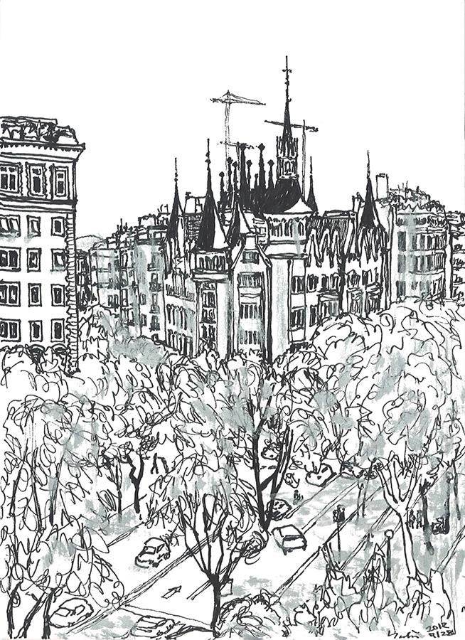 Dibujo de Sagrada Família y Casa de les Punxes vista desde Palacio del Barón de Quadras en Avenida Diagonal en Barcelona