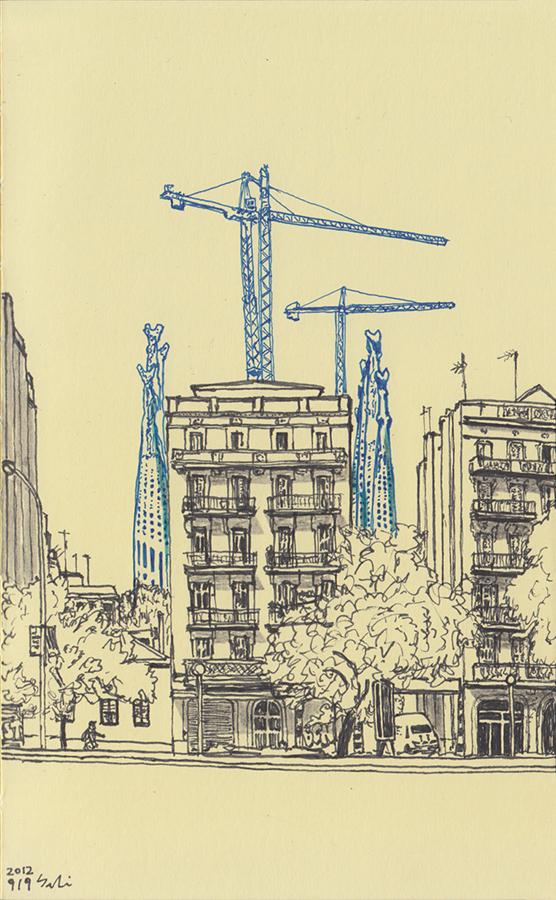 Ilustración de Sagrada Família por Antoni Gaudí vista desde Escuela Ramón Llull en Avenida Diagonal en Barcelona