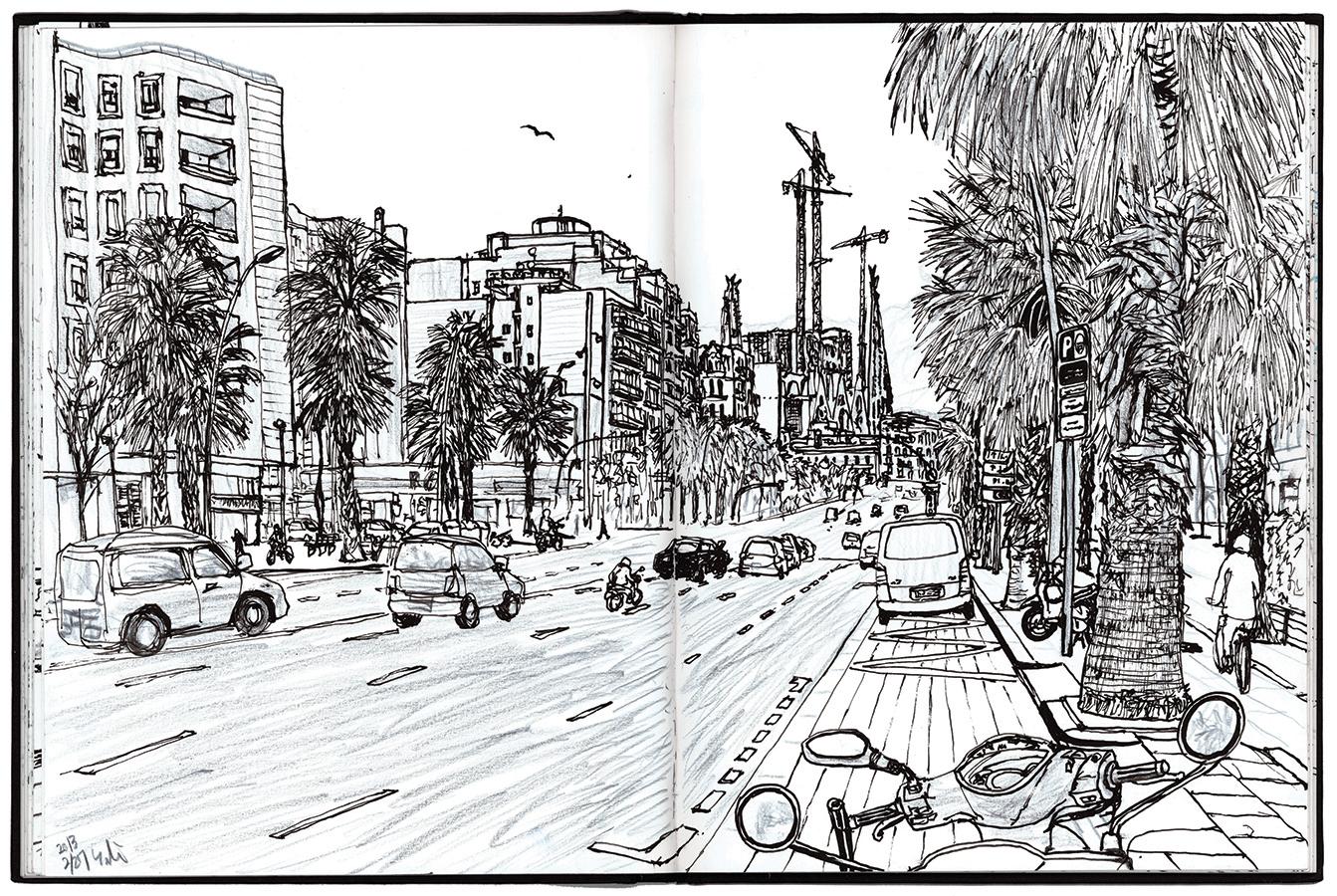 Dibujo de los coches subiendo hacia Sagrada Família pasando Carrer de la Marina en Barcelona