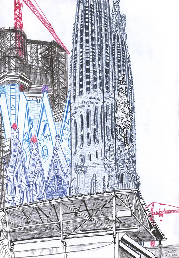 Illustration of Antoni Gaudí's Sagrada Familia under construction seen from near in Barcelona