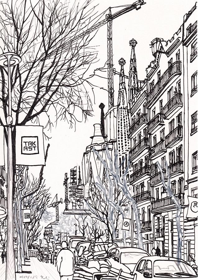 Il·lustració de Sagrada Família per Antoni Gaudí vista des de Carrer Provença a Barcelona