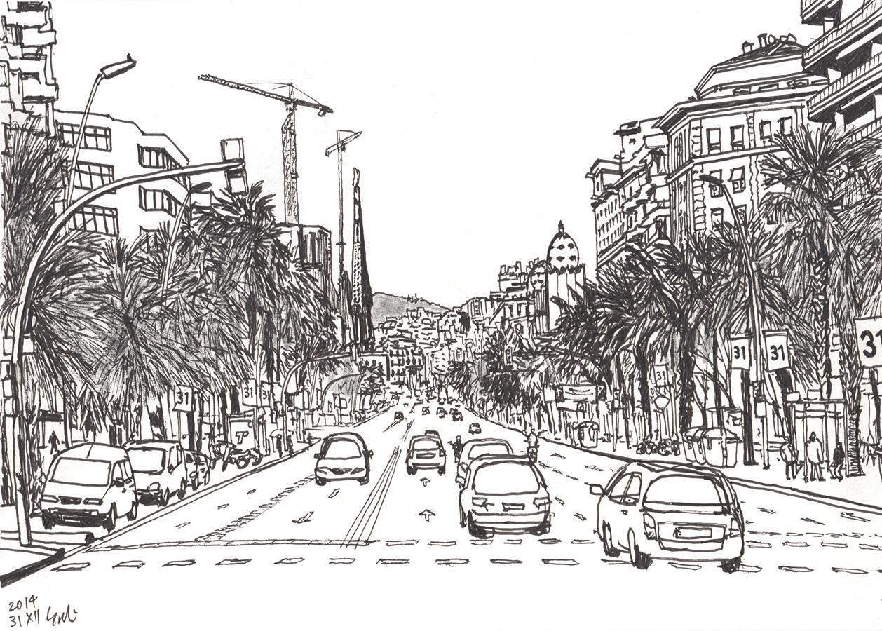 Dibujo de los coches pasando Carrer de la Marina con la vista de Sagrada Família y La Monumental en Barcelona