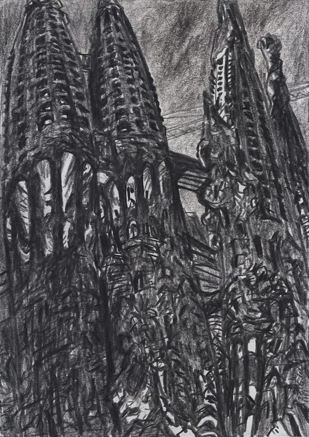 Dibujo de la Sagrada Familia por Antoni Gaudí de Barcelona en la noche