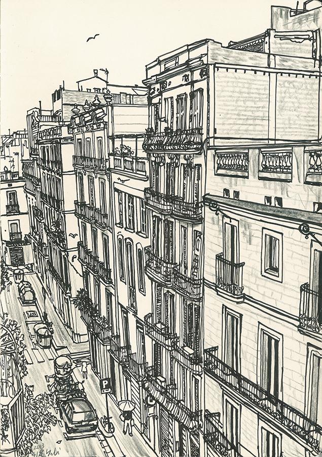 dibujo de Carrer de Bonavista de barrio de Gràcia en Barcelona