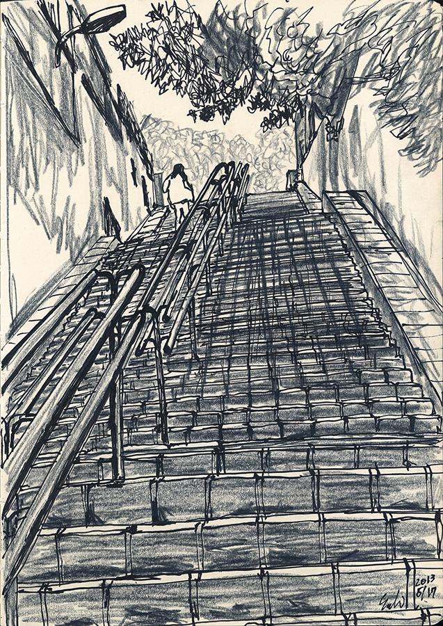 dibuix de la noia pujant Pas Coll de Portell de Barcelona
