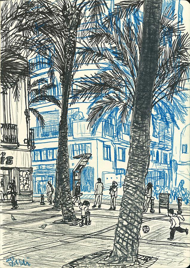 dibujo de los niños jugando en la Plaça de Trilla de barrio de Gràcia en Barcelona