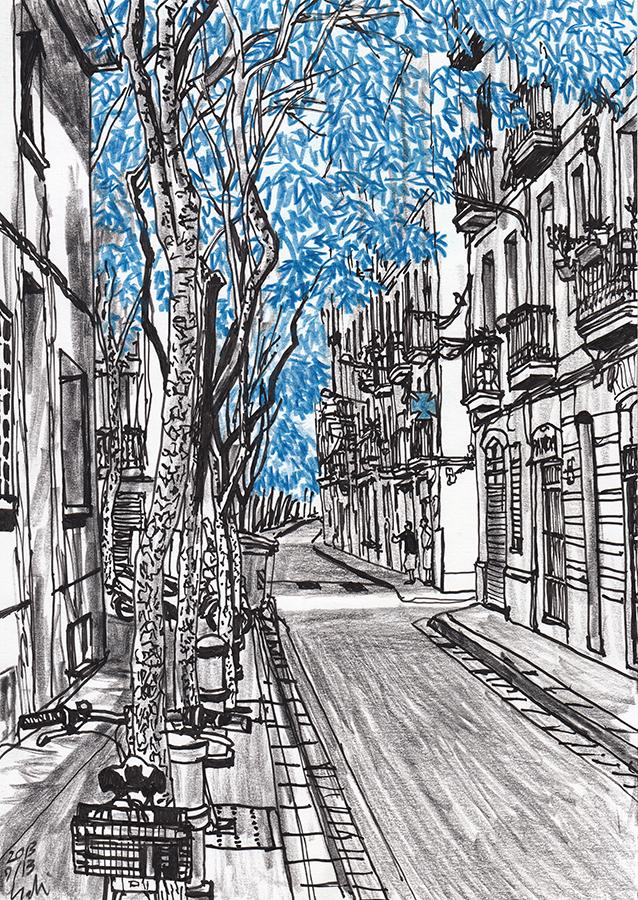 dibujo de Carrer de Tordera con Carrer de Tagamanent de barrio de Gràcia en Barcelona