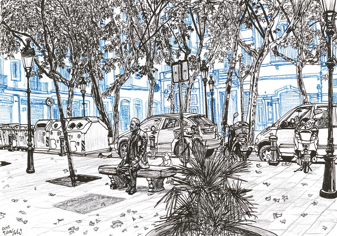 Dibujo azul de Plaça de Rovira i Trias de Gràcia en Barcelona