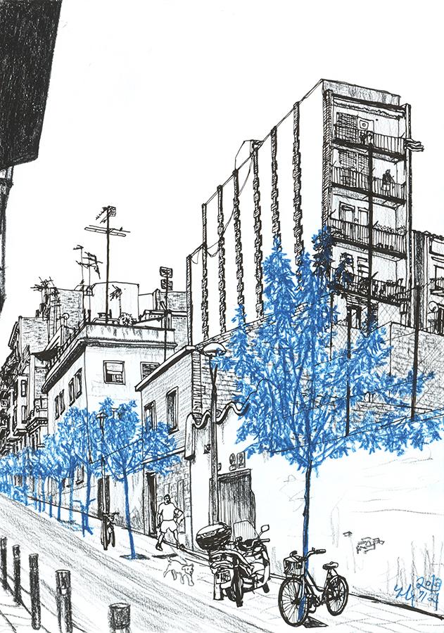 drawing of man and his dog come down Carrer de Rabassa de Gràcia en Barcelona