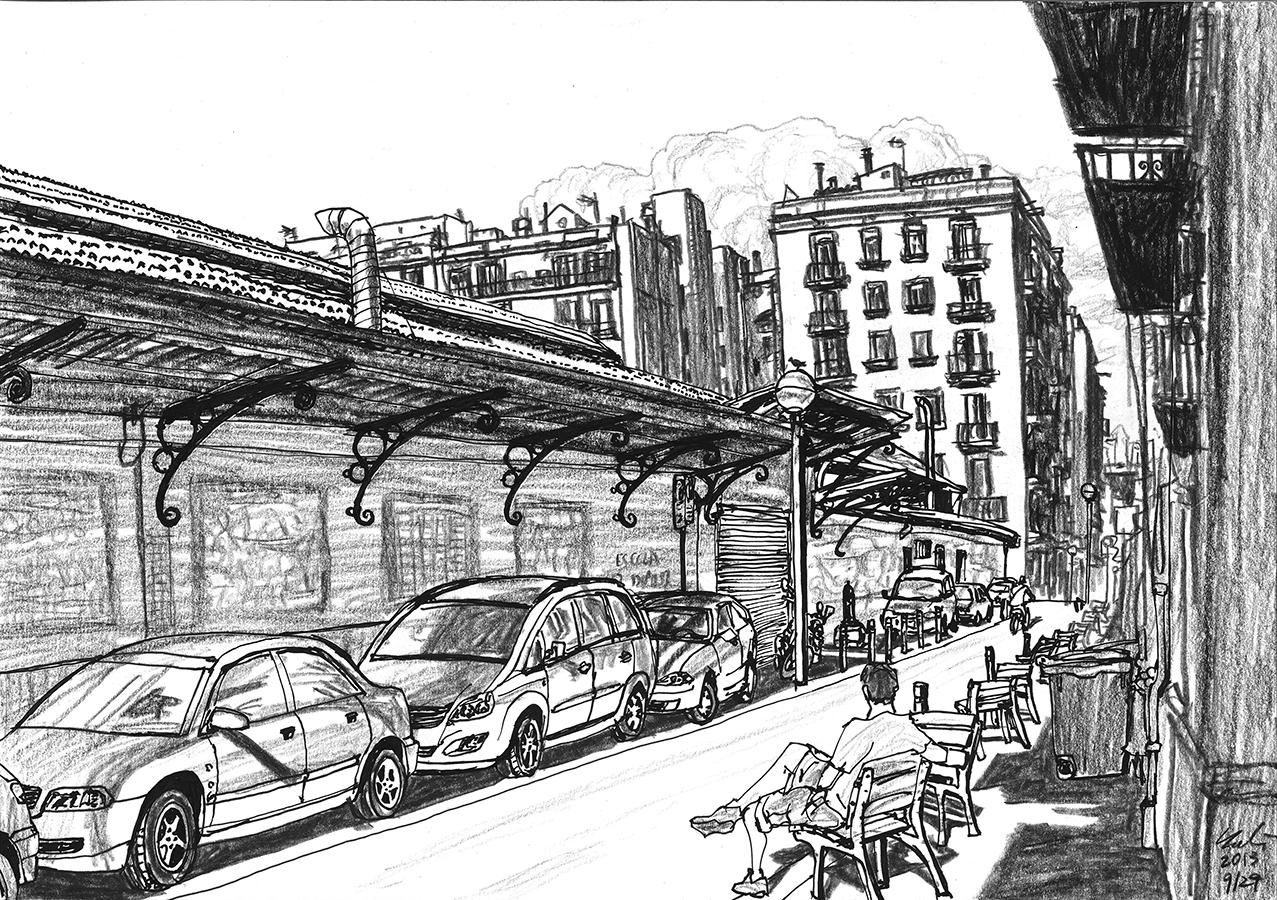 dibujo de coches aparcados en Mercat de l'Abaceria de Gràcia en Barcelona