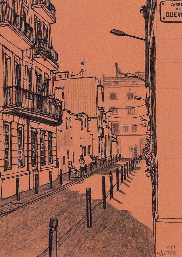 dibujo de Carrer de Banyoles con Carrer de Quevedo de Gràcia en Barcelona