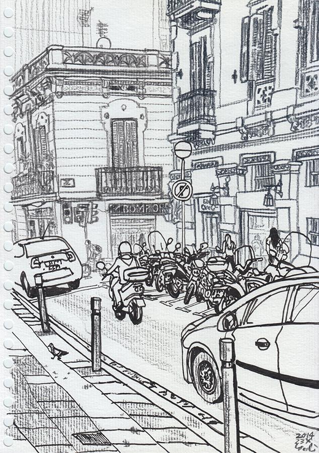 dibujo de Carrer del Torrent de l'Olla hacía Pastisseria Montserrat de Gràcia en Barcelona