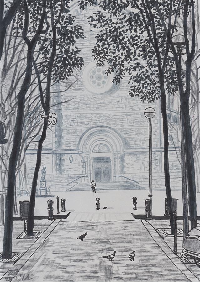 ilustración de la Plaça de la Virreina de Gràcia en Barcelona