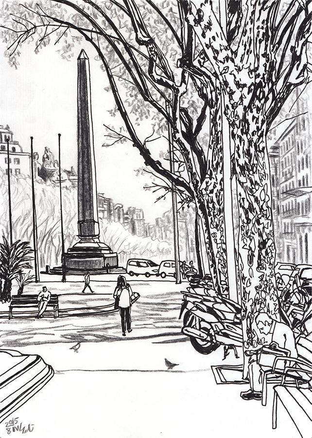 ilustración de primavera a Jardinets de Gràcia de Barcelona