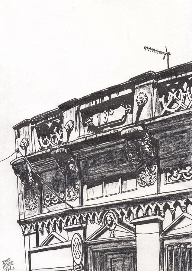 dibujo de edificio de león en Carrer del Torrent de les Flors en Gràcia de Barcelona