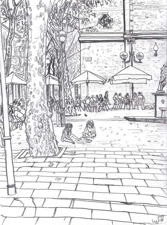 バルセロナのグラシア地区のPlaça de la Virreinaで地面に絵を描く女の子達のイラスト