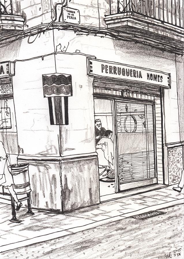 dibuix de antiga perruqueria en Carrer de la Perla a Gràcia de Barcelona