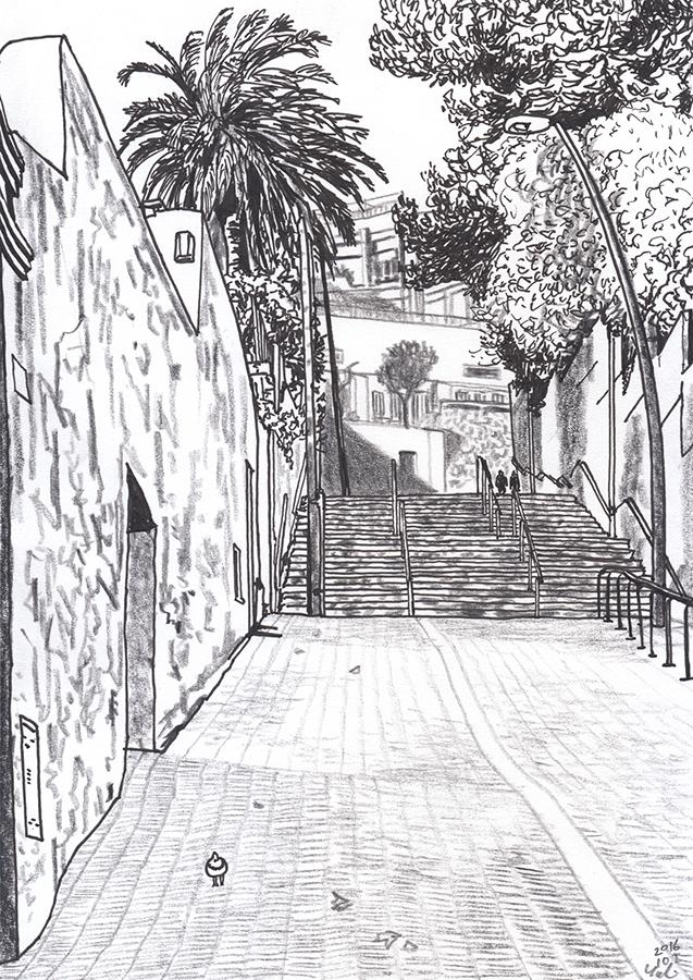 dibujo de punt final de Carrer de Molist de Gràcia de Barcelona