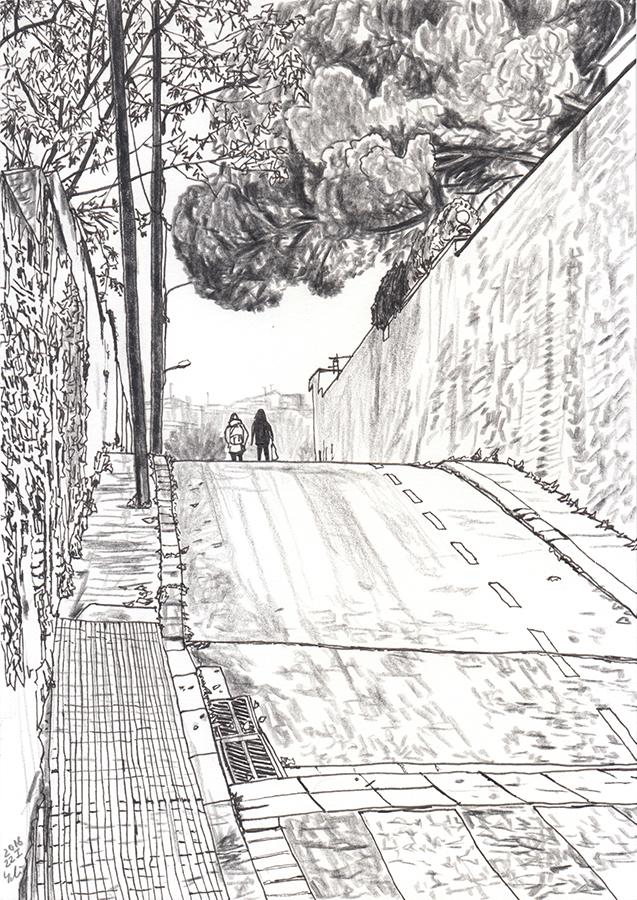 Dibuix de dues noies van per Carrer d'Antequera de Gràcia de Barcelona