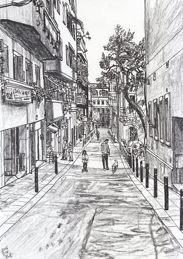 il·lustració de Carrer de l'Alzina des de Plaça del Nord de Gràcia Barcelona