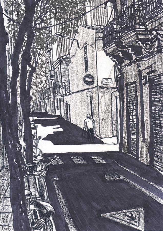 il·lustració de principis d'estiu Carrer de Tordera a Gràcia de Barcelona