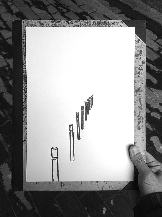 El procés de l'dibuix de Carrer de Gustavo Bécquer de Vallcarca de Barcelona