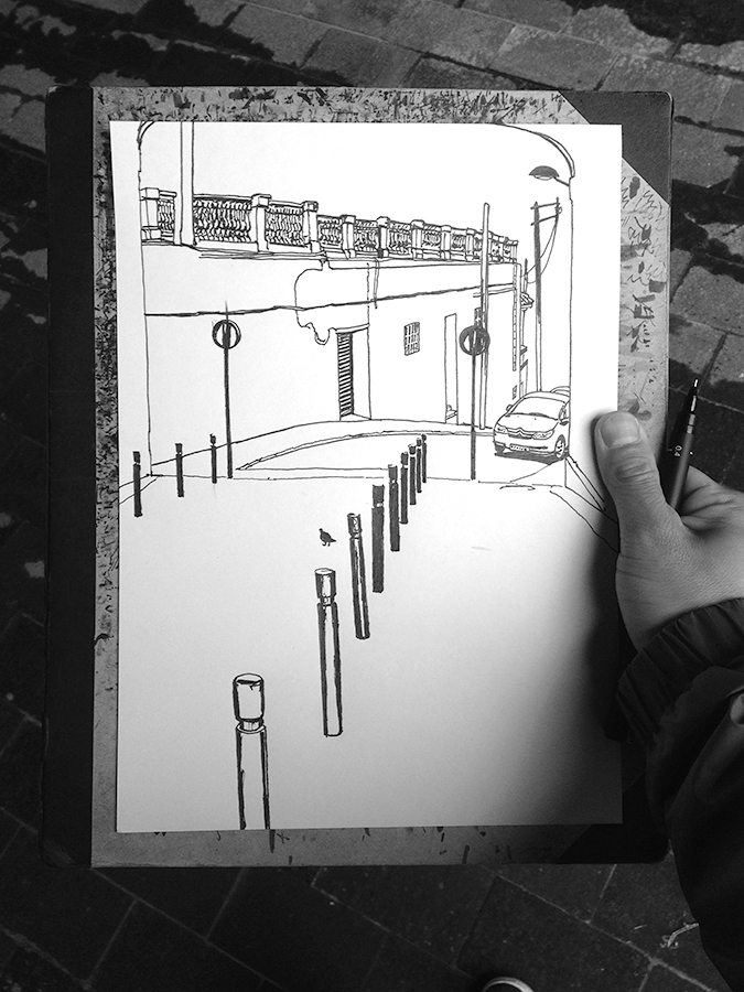 The process of drawing of Carrer de Gustavo Bécquer of Vallcarca in Barcelona