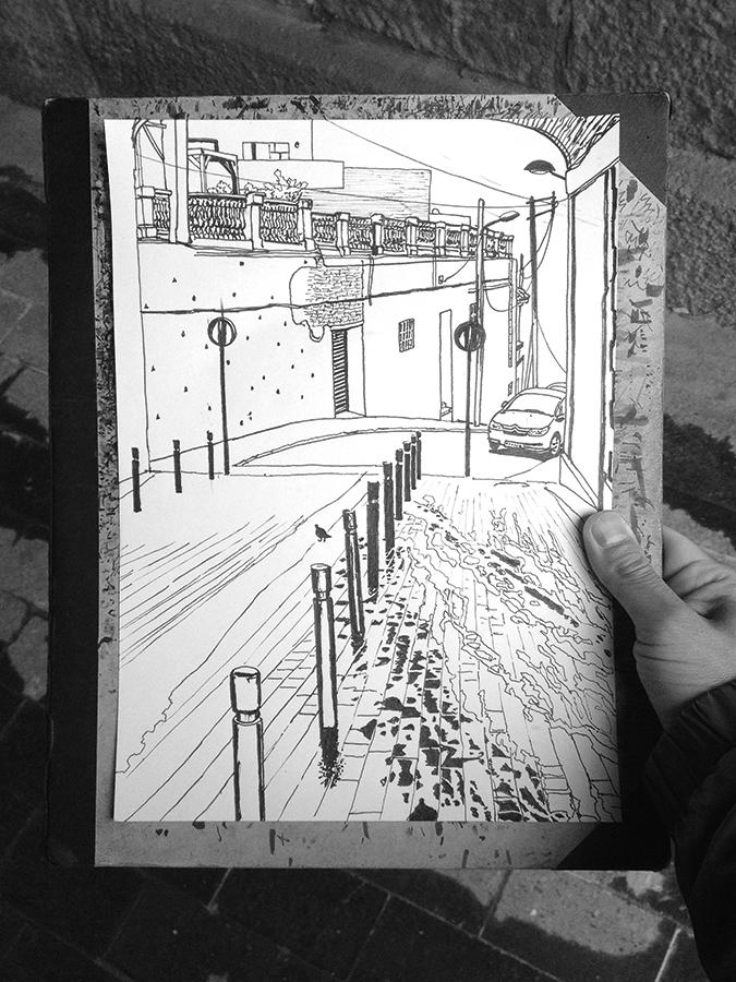 バルセロナのバイカルカのCarrer de Gustavo Bécquerの雨の日の絵のプロセス