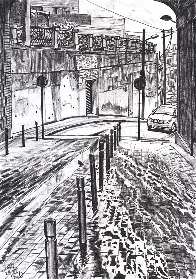 dibujo de un día lluvioso en túnel de Carrer de Gustavo Bécquer de Vallcarca de Barcelona