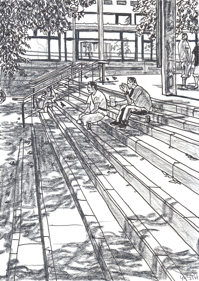 illustration of men sitting on the stairs of Carrer de Siracusa of Gràcia in Barcelona
