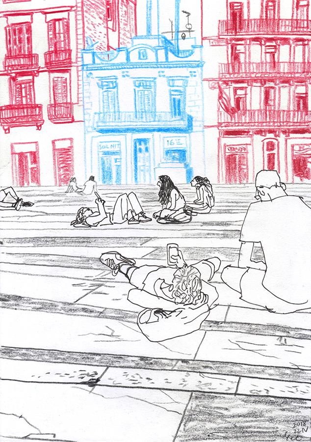 ilustración de chicos sentados en la Plaça del Sol de Gràcia en Barcelona