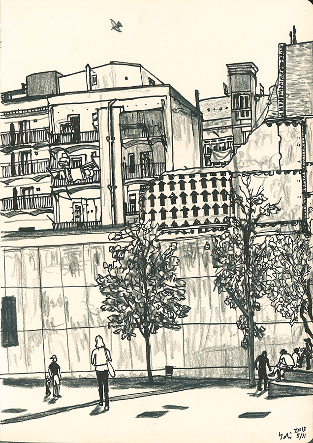 ilustración de Graffiti de flechas entre CCCB y MACBA en el Barrio Raval de Barcelona