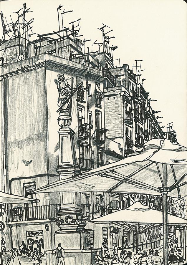 dibuix de antenes de pisos vist des de la Plaça de l'Pedró al Barri Raval de Barcelona