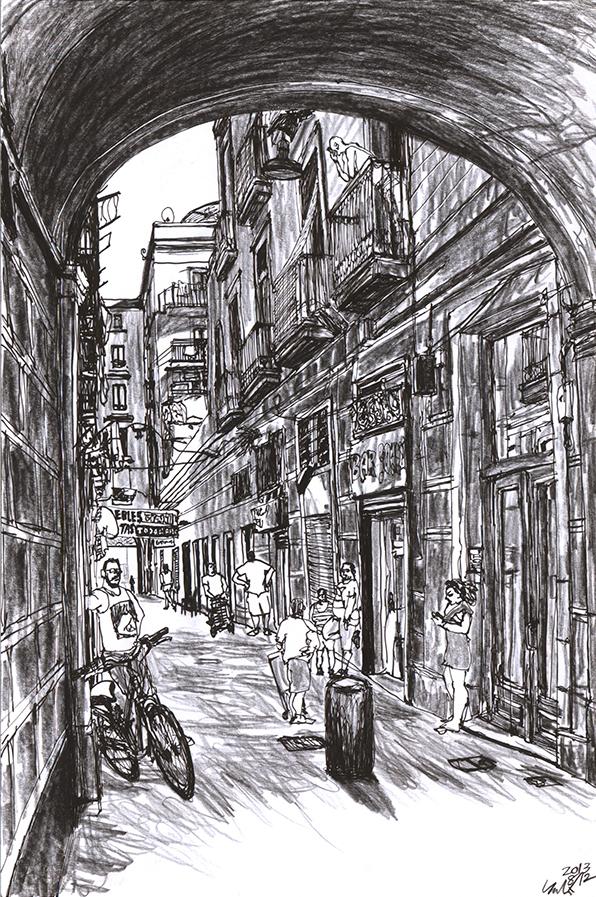 drawing of a man posing behind a bicycle at the Passatge Bernardí Martorell in Barcelona Raval